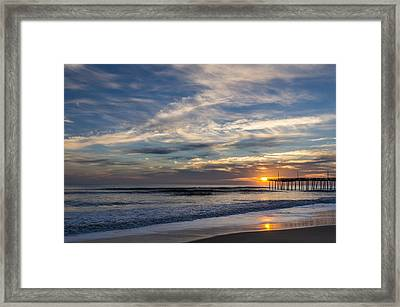 Framed Print featuring the photograph Sunrise At The Pier by Gregg Southard