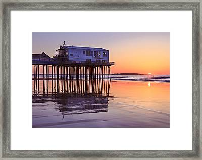 Sunrise At The Pier On Oob Framed Print by Shane Borelli