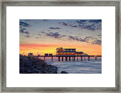 Sunrise At The Pier - Galveston Texas Gulf Coast Framed Print
