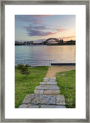 Sunrise Behind Sydney Harbour Bridge From Balmain Framed Print