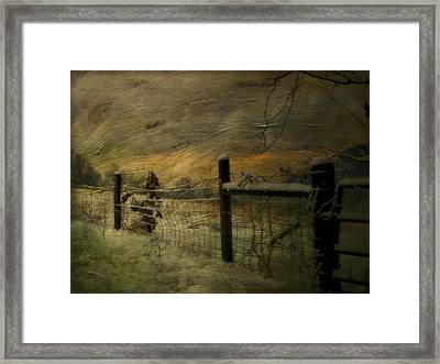 Sunrise Behind The Fence Framed Print by Kathy Jennings