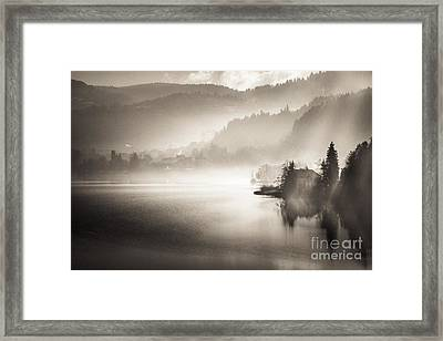 Sunrise By The Lake Framed Print