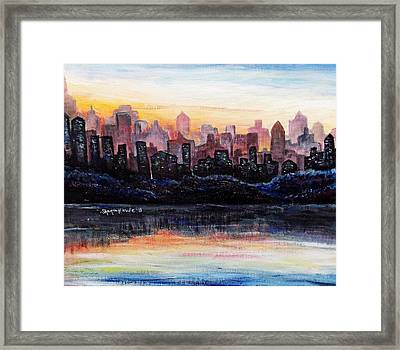 Framed Print featuring the painting Sunrise City by Shana Rowe Jackson