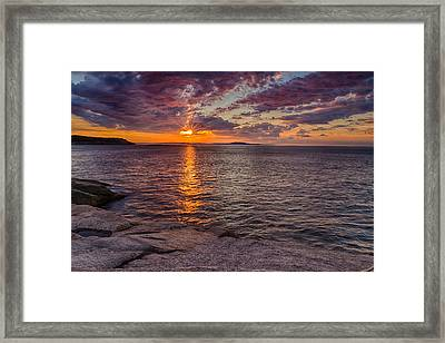 Sunrise Drama Acadia National Park Framed Print by Jeff Sinon