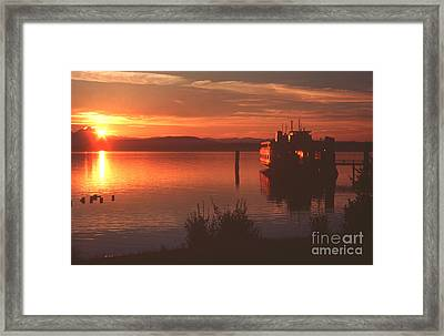 Sunrise Ferry Framed Print by Jeanette French