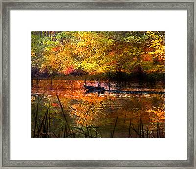 Sunrise Fisherman Moving Slowly  Framed Print