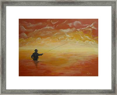 Sunrise Fishing Framed Print by Donna Blackhall