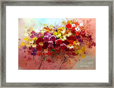 Sunrise Flowers - Abstract Oil Painting Original Modern Contemporary Art House Wall Deco Framed Print by Emma Lambert