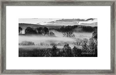 Sunrise Fog Black And White Framed Print