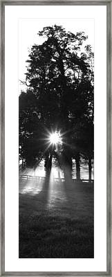 Sunrise, Fog, Woodford Co, Kentucky, Usa Framed Print by Panoramic Images