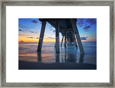 Sunrise From Under Johnnie Mercer's Pier Wrightsville Beach Nc Framed Print