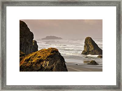 Framed Print featuring the photograph Sunrise Gold And Surf by Kevin Munro