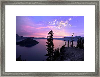 Sunrise In Crater Lake Framed Print
