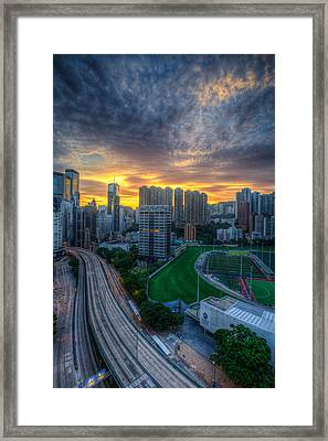 Sunrise In Hong Kong Framed Print by Mike Lee
