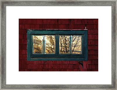 Framed Print featuring the photograph Sunrise In Old Barn Window by Susan Capuano