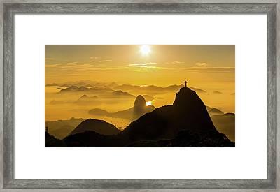 Sunrise In Rio De Janeiro Framed Print by Flavio Veloso