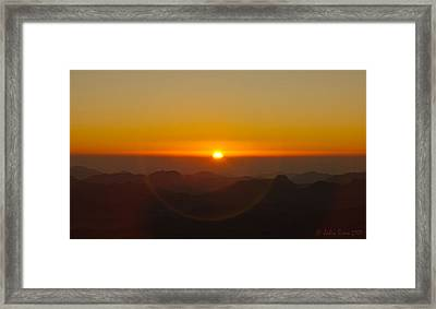 Framed Print featuring the pyrography Sunrise In Sinai Mountains by Julis Simo