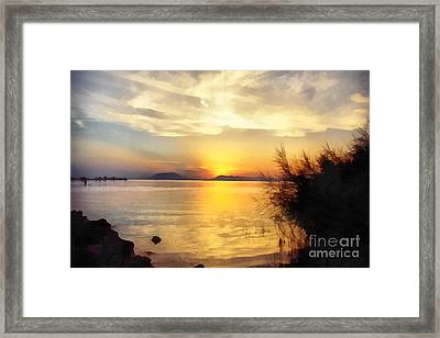Sunrise In The Balaton Lake Framed Print by Odon Czintos