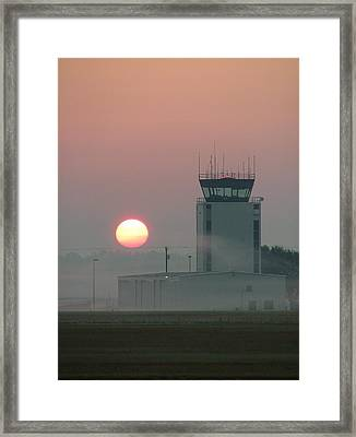 Sunrise In The Fog At East Texas Regional Airport Framed Print