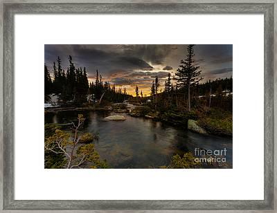 Sunrise In The Indian Peaks Framed Print
