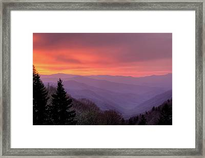 Sunrise In The Smoky Mountains Framed Print by Dennis Govoni