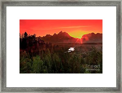 Sunrise In The Tetons Framed Print