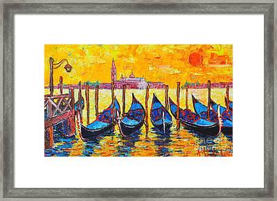 Sunrise In Venice Italy Gondolas And San Giorgio Maggiore Framed Print
