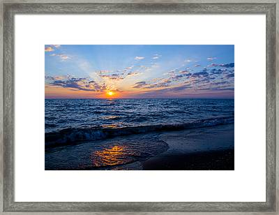 Sunrise Lake Michigan August 10th 2013 002 Framed Print