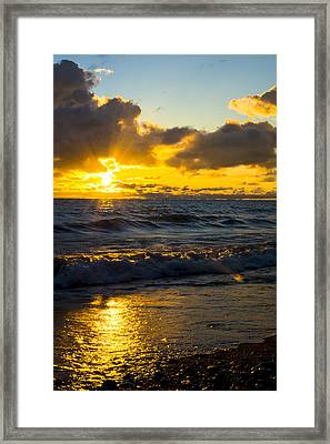 Sunrise Lake Michigan August 30th 2013 001  Framed Print
