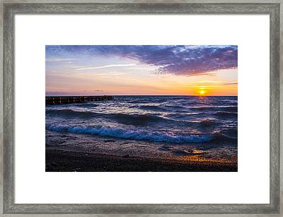 Framed Print featuring the photograph Sunrise Lake Michigan August 8th 2013 004 by Michael  Bennett