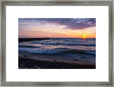 Sunrise Lake Michigan August 8th 2013 Wave Crash Framed Print