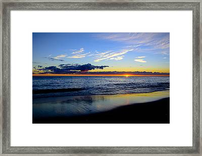 Framed Print featuring the photograph Sunrise Lake Michigan September 14th 2013 017 by Michael  Bennett