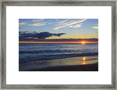Framed Print featuring the photograph Sunrise Lake Michigan September 14th 2013 019 by Michael  Bennett