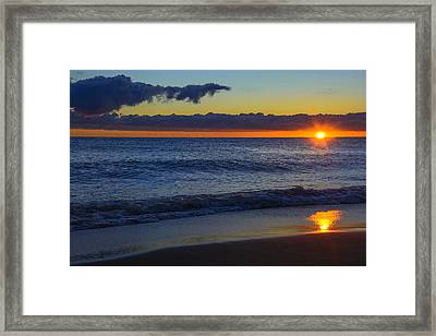 Framed Print featuring the photograph Sunrise Lake Michigan September 14th 2013 020 by Michael  Bennett