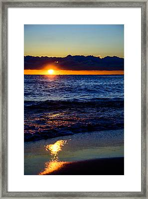 Framed Print featuring the photograph Sunrise Lake Michigan September 14th 2013 021 by Michael  Bennett