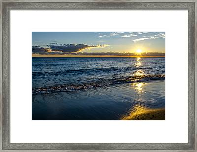 Framed Print featuring the photograph Sunrise Lake Michigan September 14th 2013 023 by Michael  Bennett