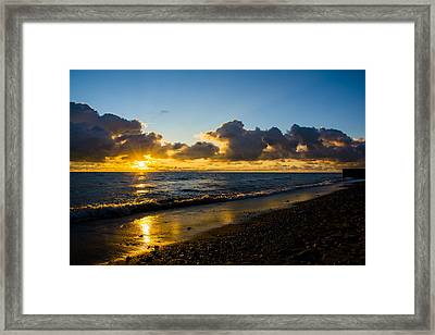 Framed Print featuring the photograph Sunrise Lake Michigan September 2nd 2013 004 by Michael  Bennett
