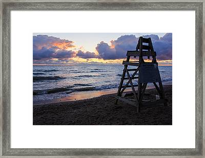 Framed Print featuring the photograph Sunrise Lake Michigan September 2nd 2013 005 by Michael  Bennett