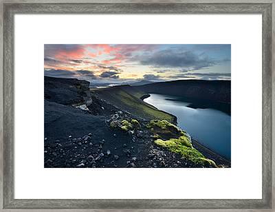 Sunrise Landscape With Veidivotn Lake In Iceland Framed Print