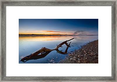 Sunrise Log Lake Framed Print by Berkehaus Photography