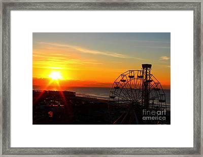 Sunrise Ocean City Boardwalk Framed Print