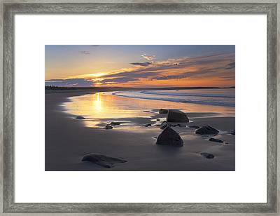 Sunrise On A Beach Near The Port Framed Print