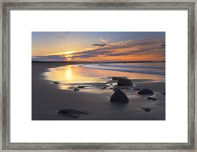 Sunrise On A Beach Near The Port Framed Print