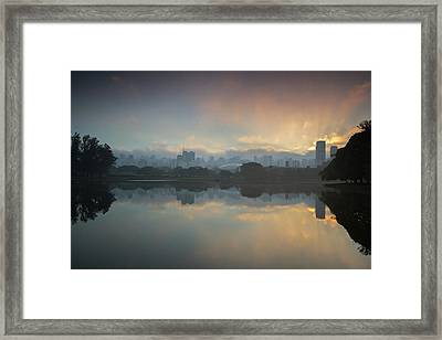Sunrise On A Lake In Sao Paulos Framed Print by Alex Saberi