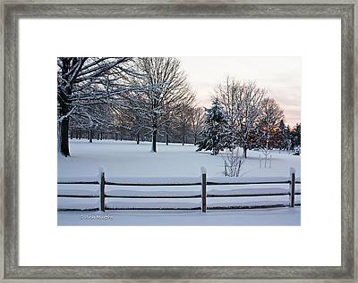 Framed Print featuring the photograph Sunrise On A Snowy Morning by Ann Murphy
