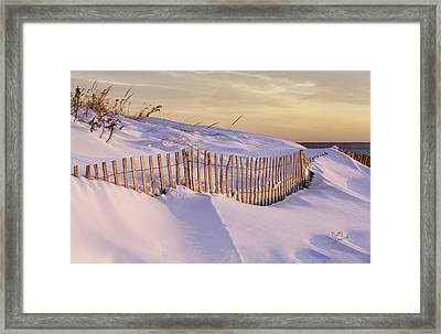 Sunrise On Beach Fence Framed Print