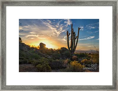 Sunrise On Granite Mountain Framed Print by Marianne Jensen