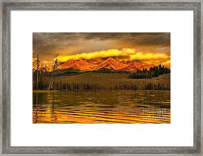 Sunrise On Little Redfish Lake Framed Print by Robert Bales