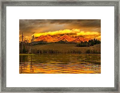 Sunrise On Little Redfish Lake Framed Print