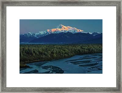 Sunrise On Mnt Denali, Trapper Creek Framed Print